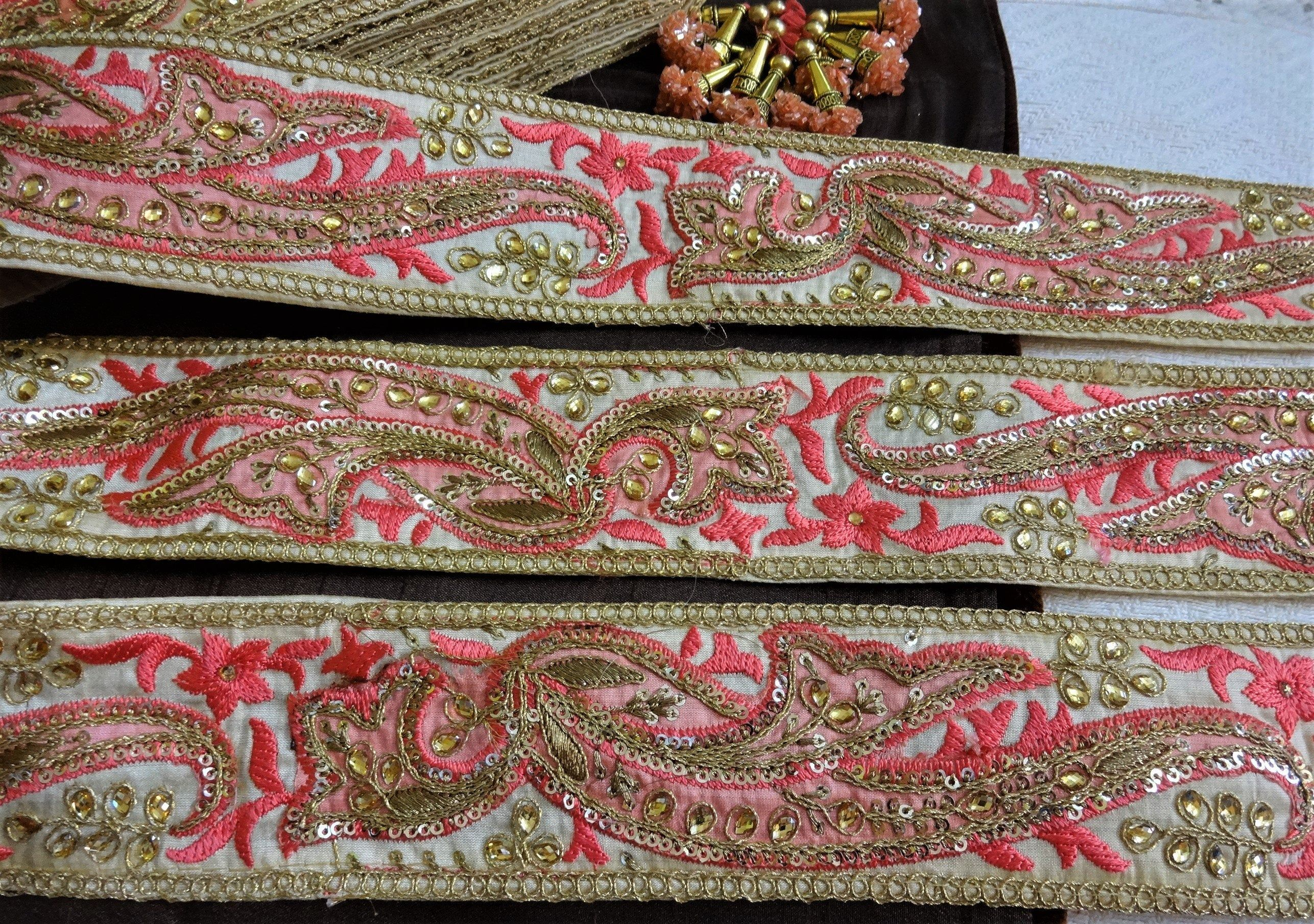 1yard Beads Sequins Ribbon Embroidery Lace Trim for DIY Garments Decoration