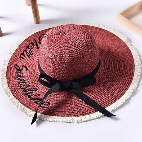 deed84d5d14610 Sunscreen Breathable Foldable Straw Hat. Women Summer Foldable Wide Brim  Panama Straw Hat Embroidery Letter Travel Sunshade Beach Sun Hats #