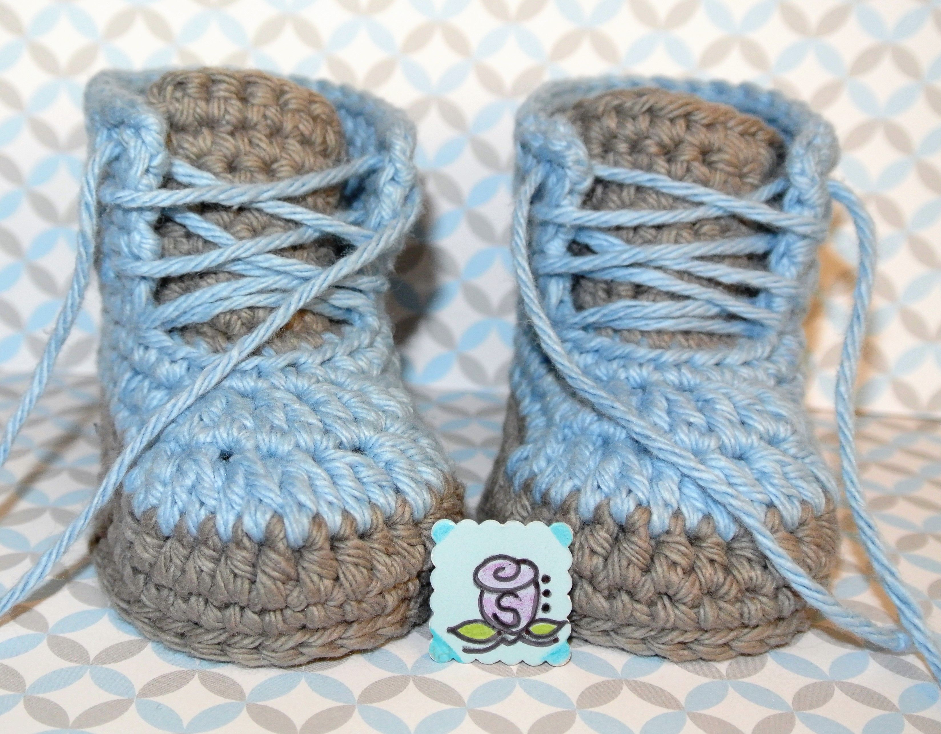 Crochet Baby Boy Shoes Made By Me Zapatito de Bebe a Crochet