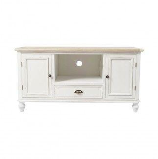 Mesa de TV en color blanco con dos puertas y un cajón.