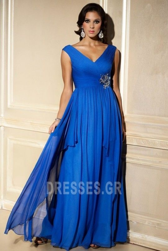 5f7ffcdfc79c Σιφόν Προσαρμοσμένες μανίκια Λαιμόκοψη V Βραδινά φορέματα - Σελίδα 1 ...