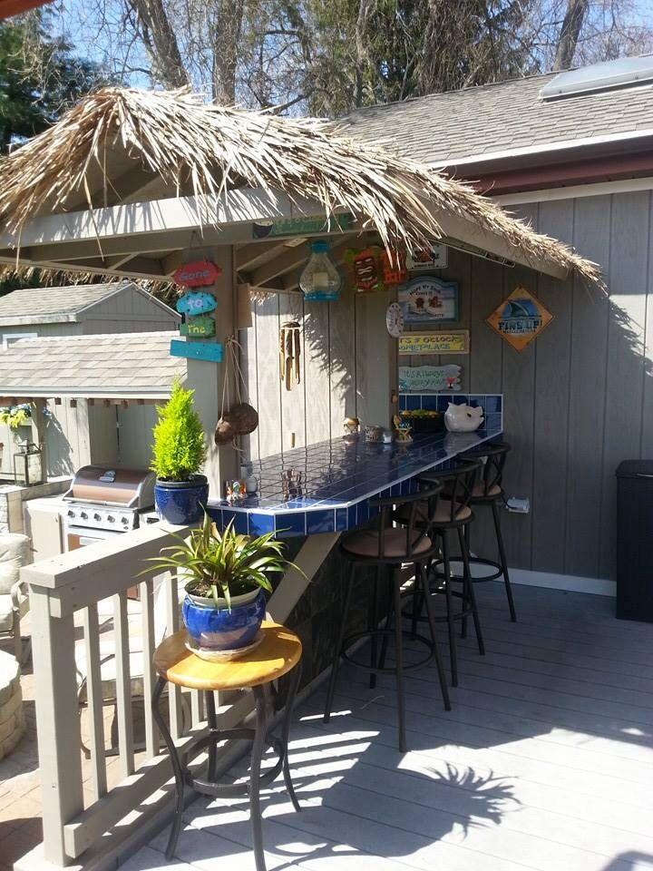 Tiki hut/bar | Tiki bars backyard, Diy outdoor bar, Tiki bar on Backyard Tiki Hut Designs id=99316