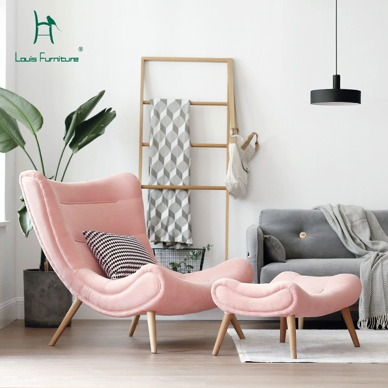 Louis Fashion Single Sofa Nordic Style Living Room Furniture Pink