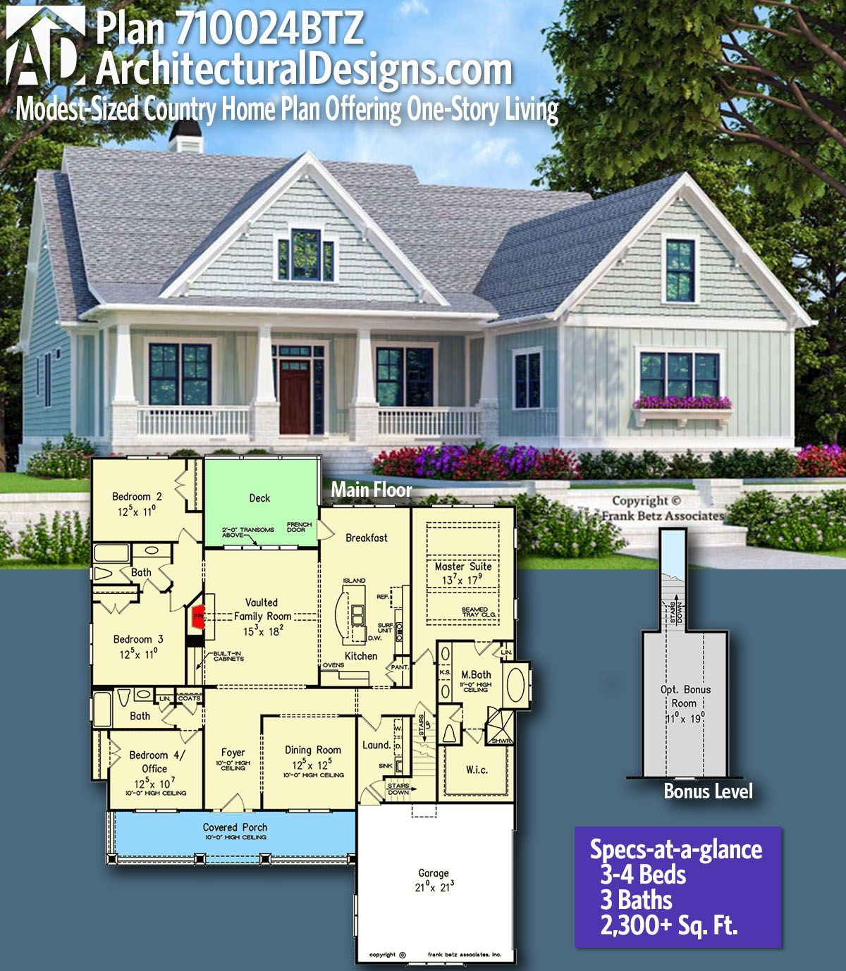 Plan 710024btz Modest Sized Country Home Plan Offering One Story Living In 2020 Country House Plans House Plans Farmhouse Dream House Plans