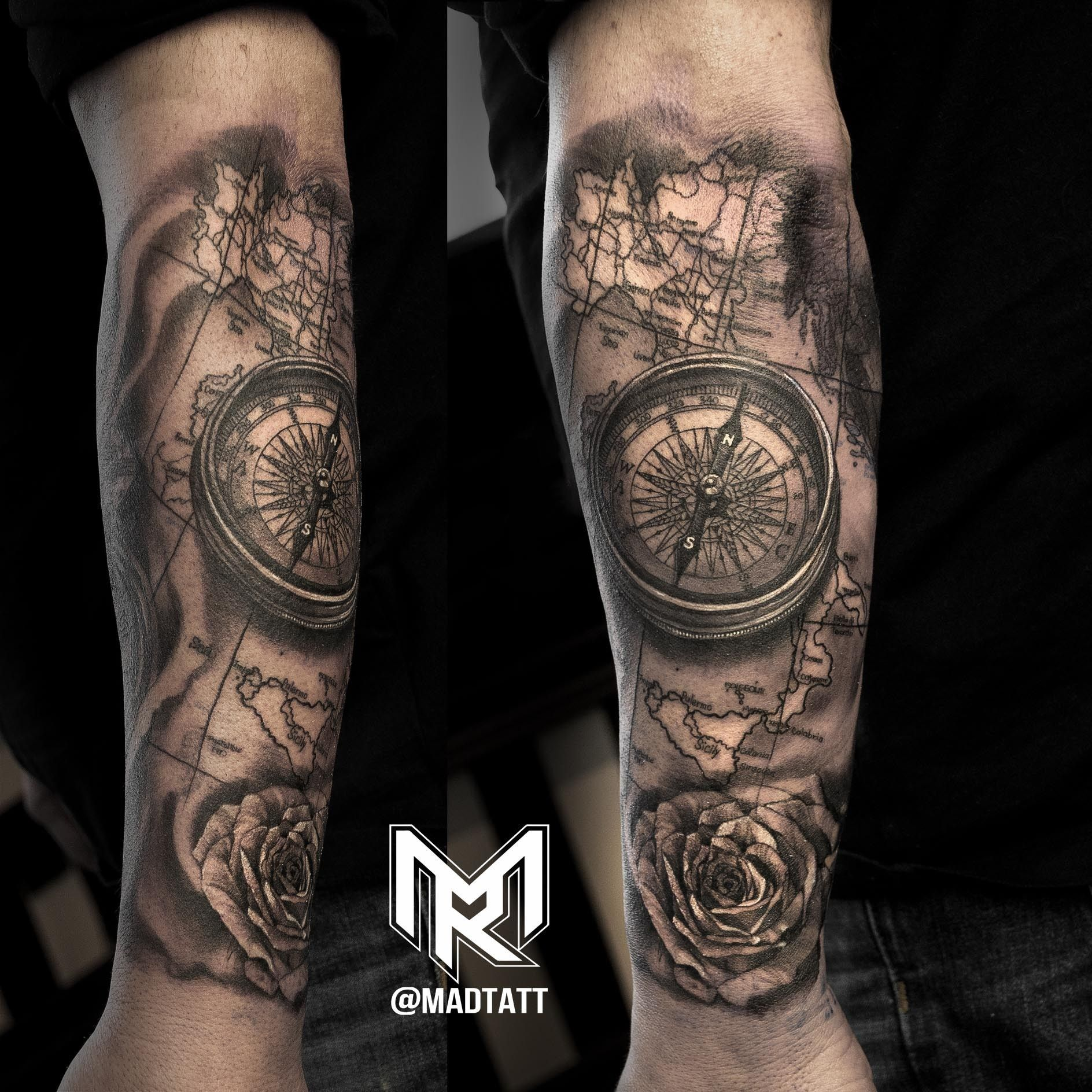 Compass and Italy Map | Tattoo art | Compass tattoos arm ...