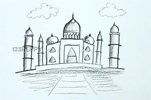 Taj Mahal Line Drawing Easy : How to draw taj mahal art pinterest and