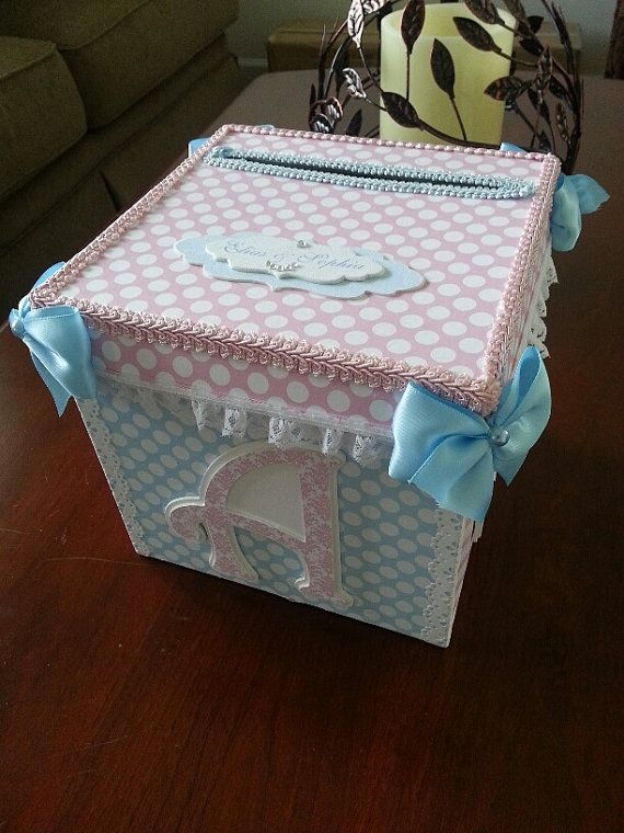 Pink And Blue Gift Card Box / Baby Shower By TheCarriageShoppe, $35.00
