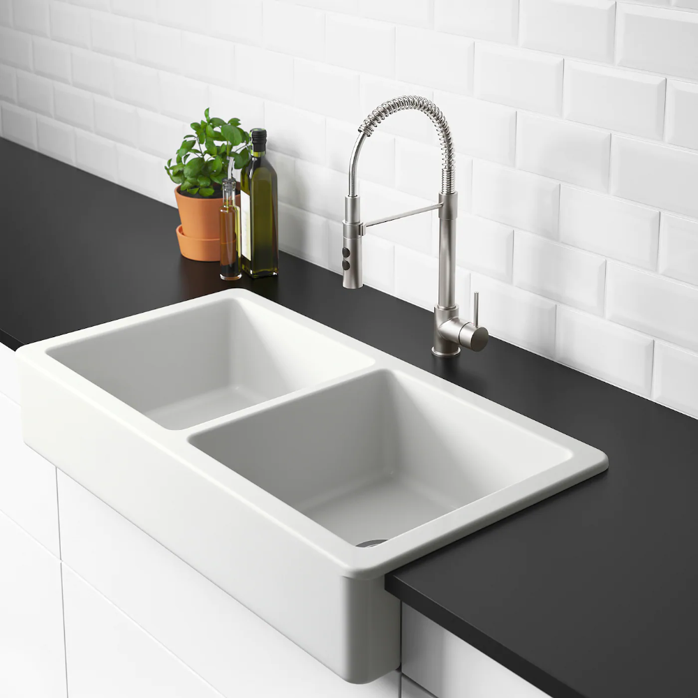 IKEA HAVSEN White Apron front double bowl sink in 2020