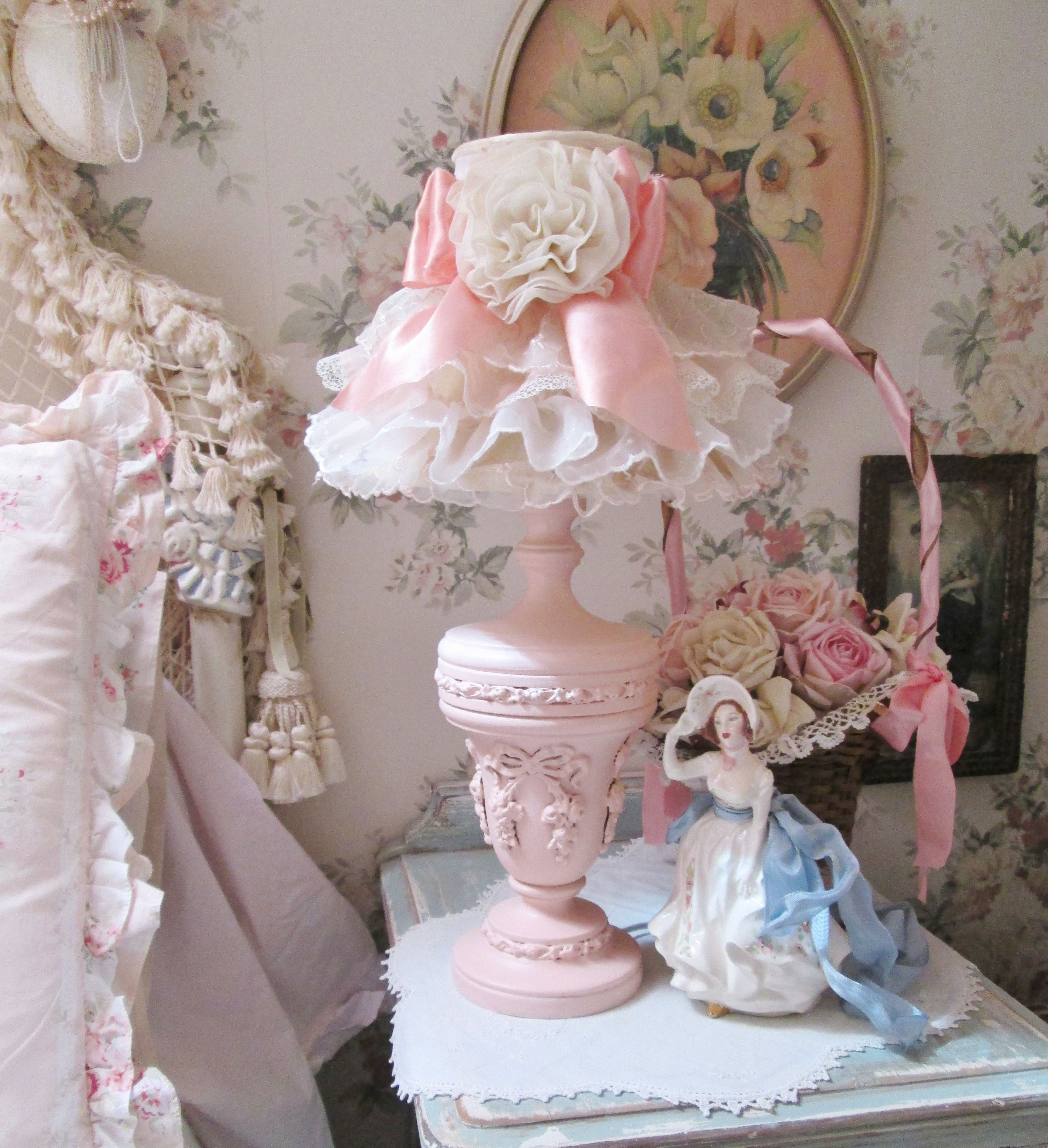 Shabby Chic Style French Lamp And Shade