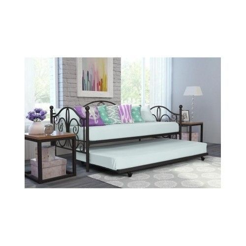 Daybed With Trundle Frame Metal Twin Size Modern Day Bed Daybeds ...