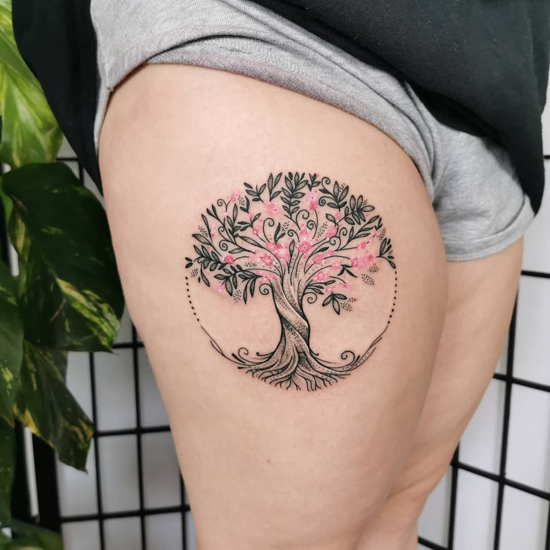 159 Likes 3 Comments Sonia Jade Sonia Jade On Instagram Cherry Blossom Tree Of Lif Tattoos For Daughters Blossom Tree Tattoo Cherry Blossom Tree Tattoo