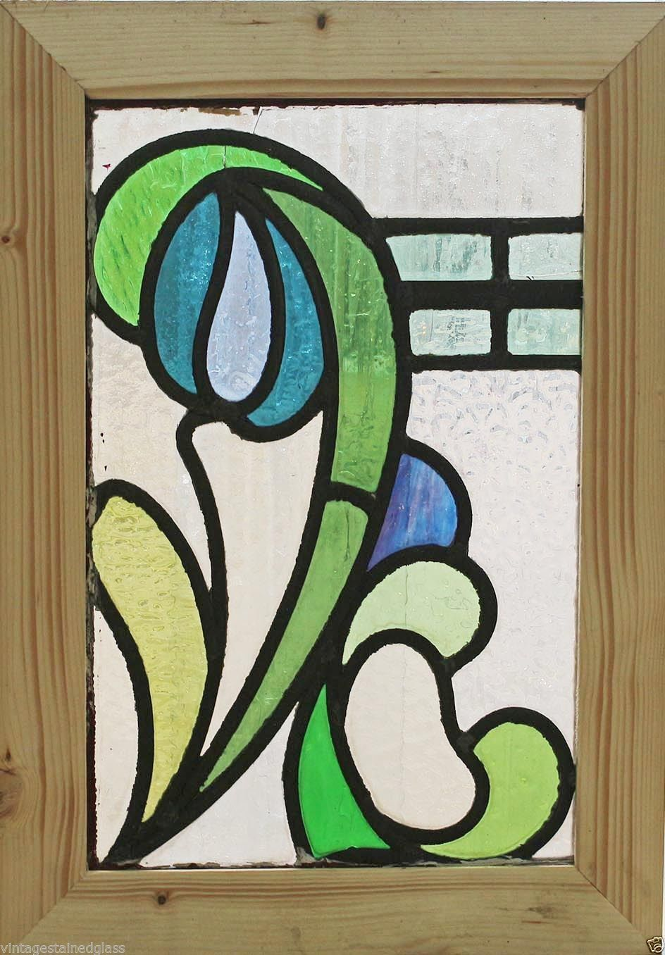 Antique Stained Glass Window Fancy Eight Color Art Nouveau Remnant 2660 | eBay