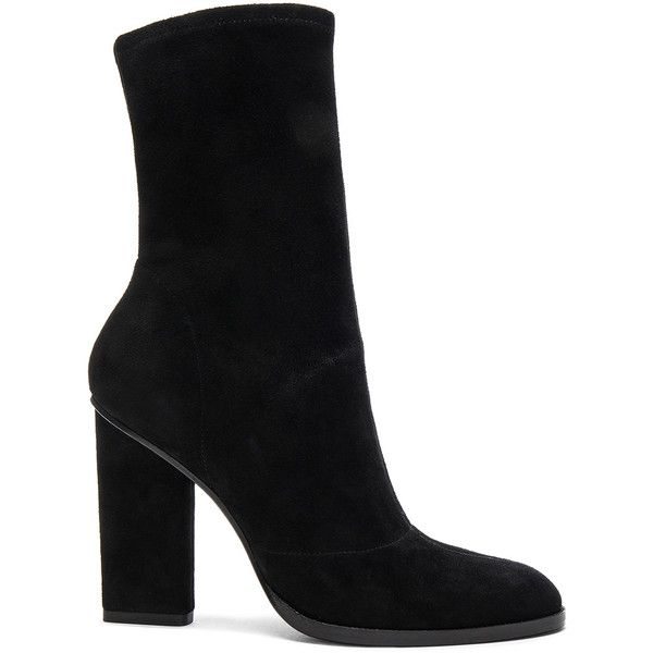 Alexander Wang Suede Gia Booties (8,675 MXN) ❤ liked on Polyvore featuring shoes, boots, ankle booties, ankle boots, black, heels, booties, short black boots, black suede boots and black suede booties