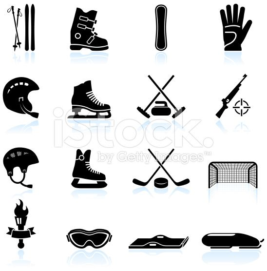 Winter Sports Gear Black And White Icon Set Winter Sports Sports Decorations Winter Sport Gear