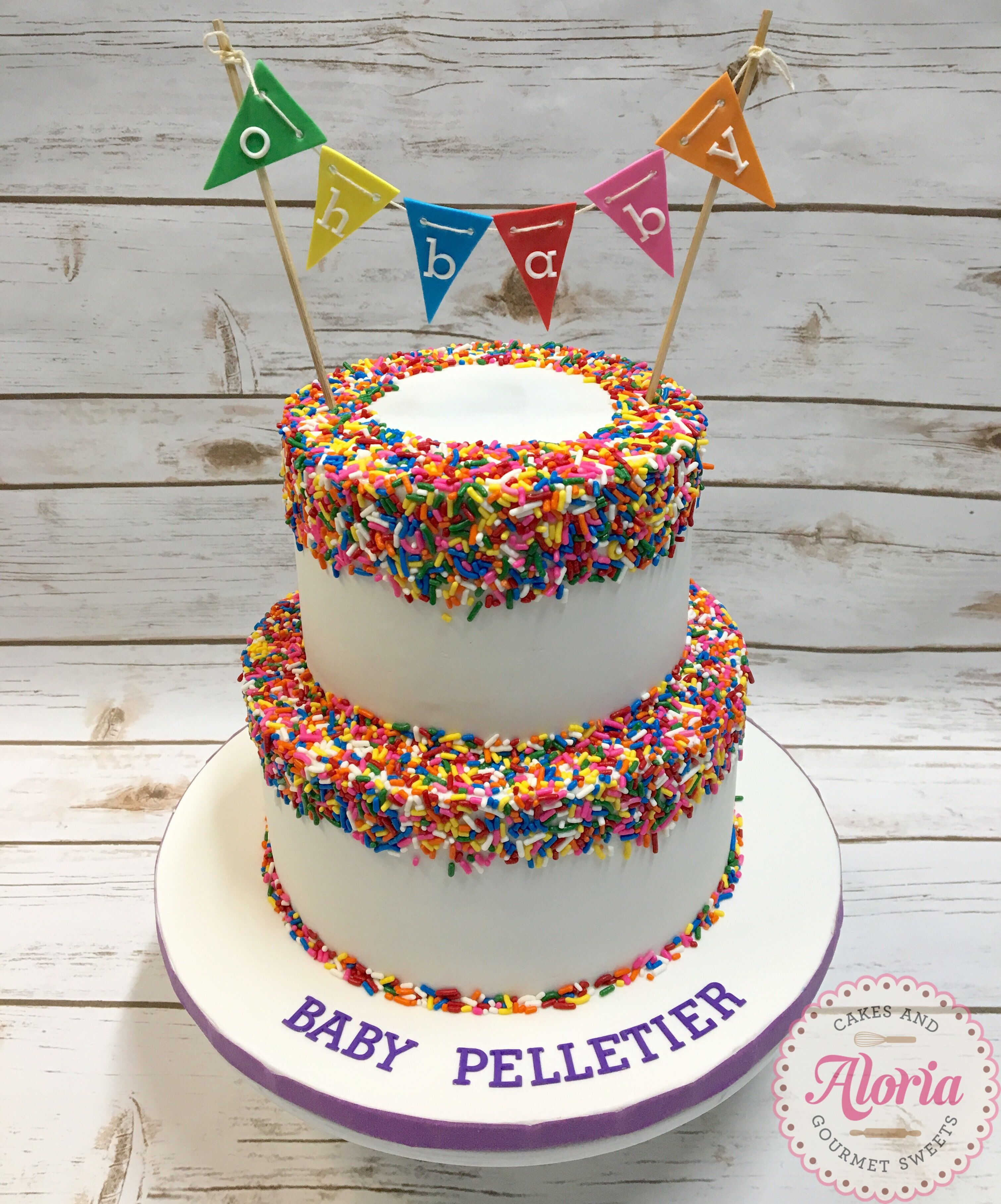 Rainbow Sprinkles Funfetti Baby Shower Cake With Images Baby