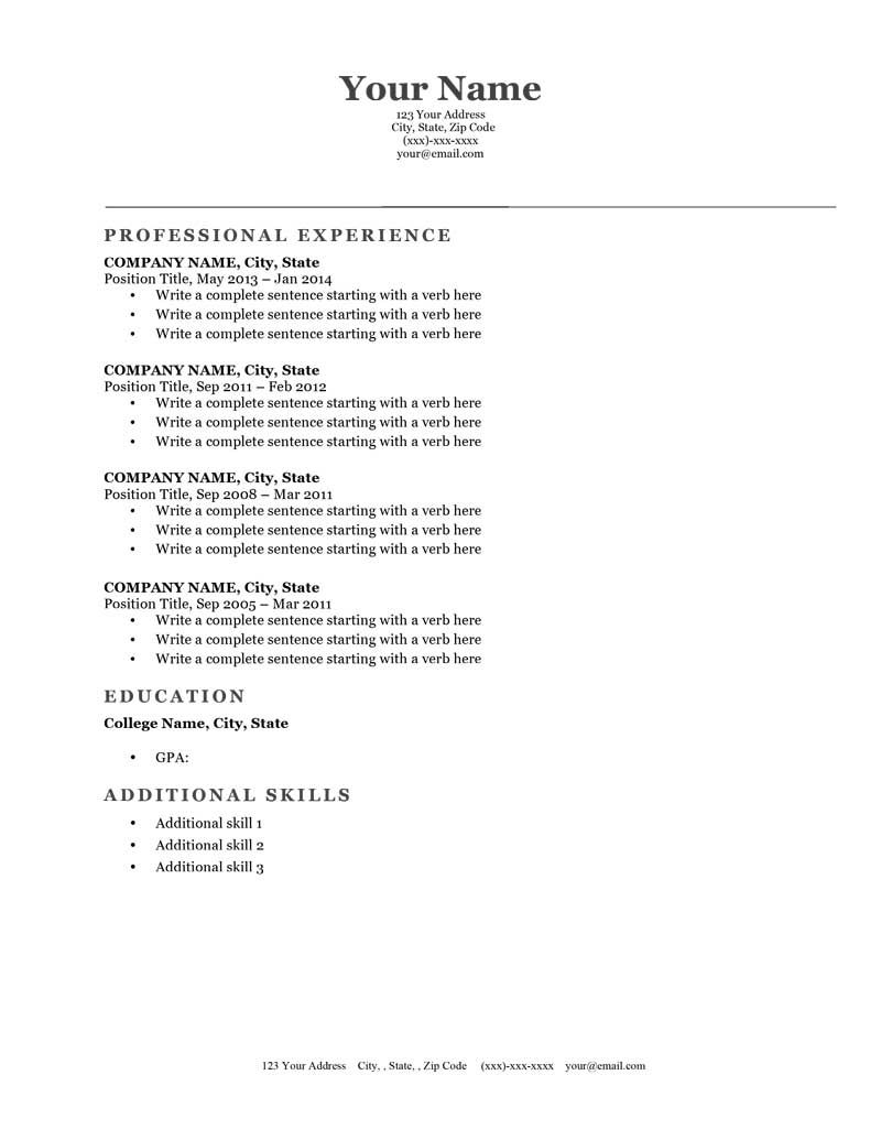 Free Resume Template Downloads Brilliant Classic Gray Downloadable Free Resume Template  Resume Genius .