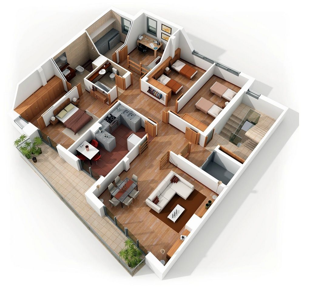 "4 Bedrooms Apartments For Rent: 50 Four ""4"" Bedroom Apartment/House Plans"