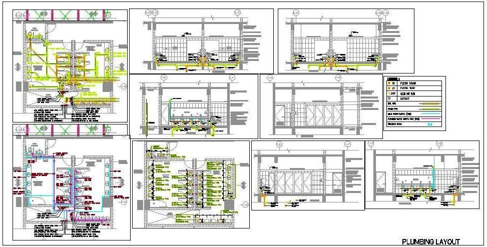 Autocad Working Drawing of Plumbing Design of Ladies and Gents – Floor Plan With Plumbing Layout