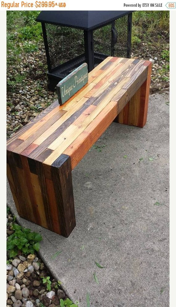 Reclaimed PALLET WOOD Rustic Bench By Unique Primtiques