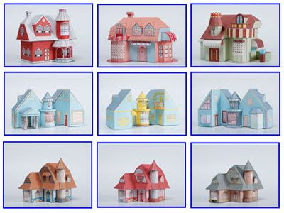 3d House Paper Model With Calendar Free Papercraft Templates Paper Doll House Paper Models Paper Toys