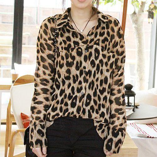 376fa6e6e6159a Sz M L Sexy Womens Leopard Animal Print Tops Loose Chiffon Shirt Collar  Blouse
