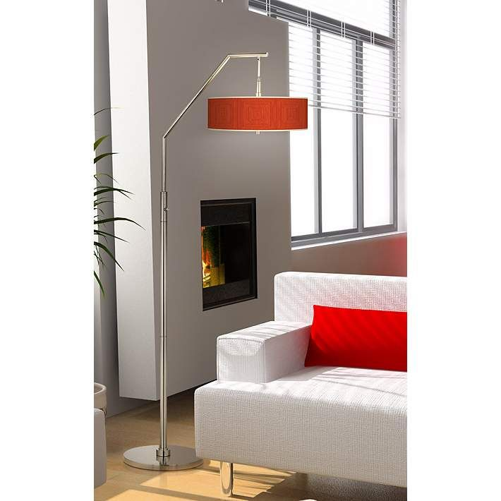Stacy garcia crackled square coral giclee shade arc floor lamp h5361 k0468