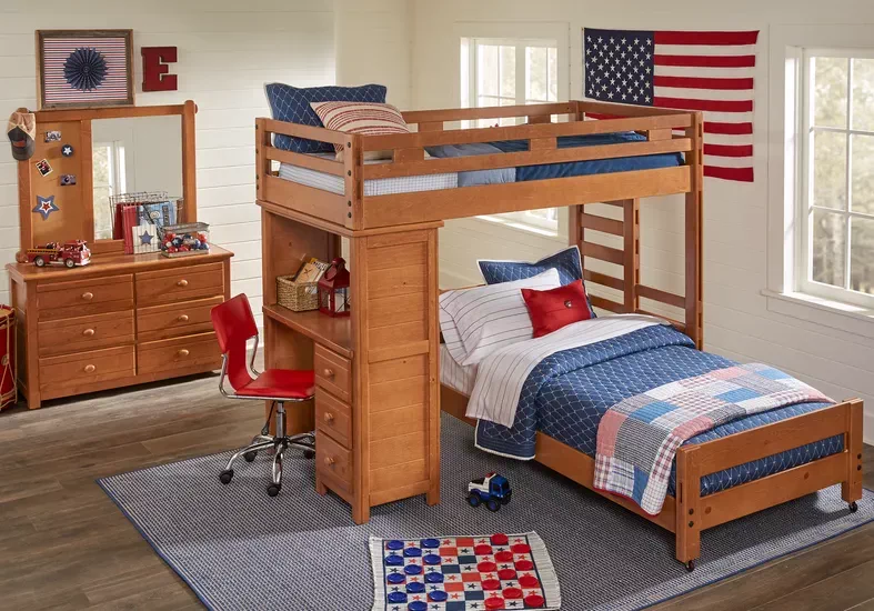 Creekside Taffy Twin Twin Student Bunk Bed With Desk Rooms To Go In 2020 Bedroom Furniture Stores Bunk Bed With Desk Bunk Bed Designs