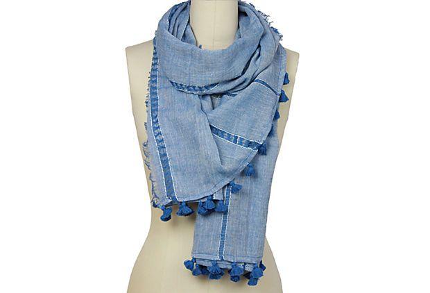 Stripe Tassel Scarf, Blue on OneKingsLane.com $22