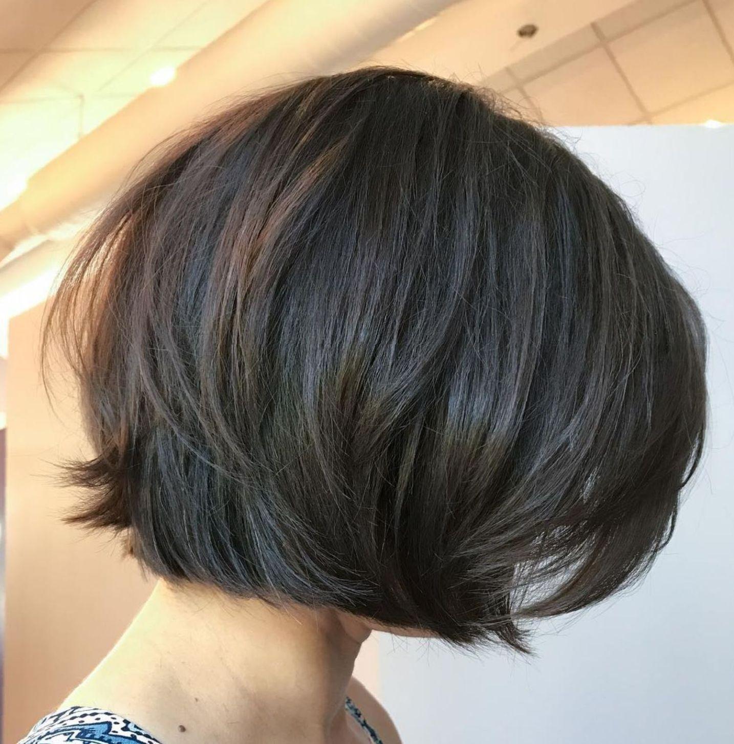One Length Layered Brown Bob Thick Hair Styles Short Hairstyles For Thick Hair Haircut For Thick Hair