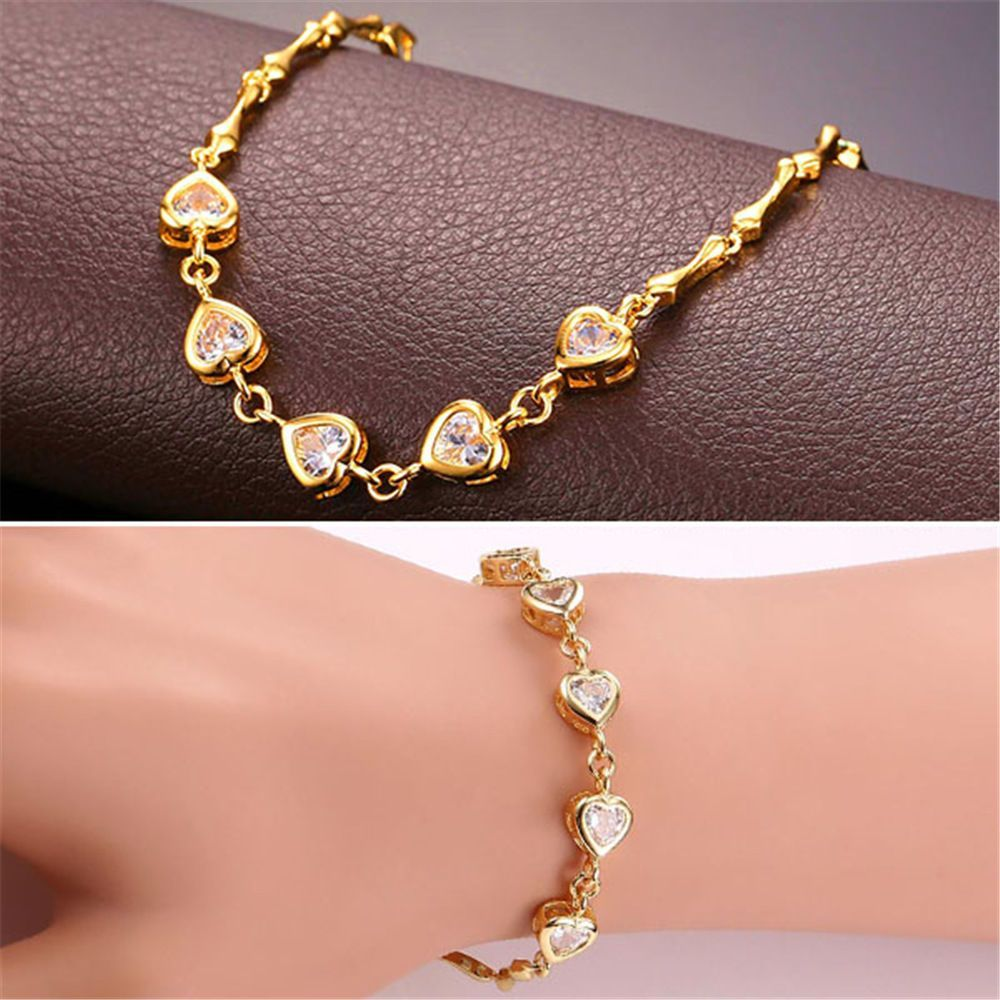 K gold plated zirconia heart charm link chain bracelet romantic