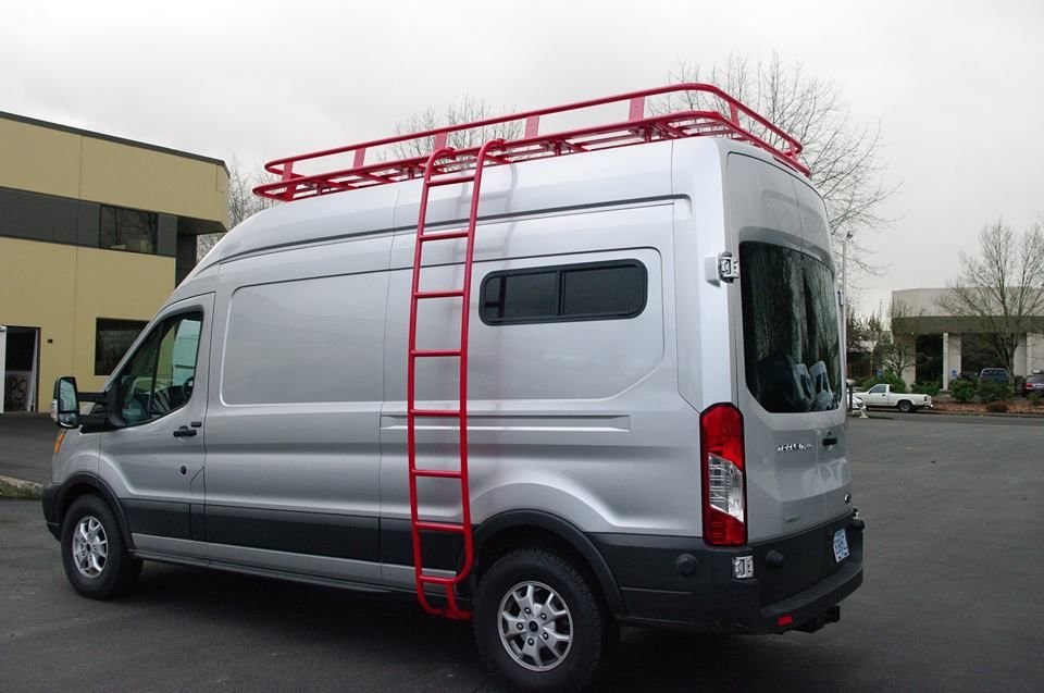 Aluminess Roof Rack And Ladder In Red On This Van Specialties Ford Transit Build Ford Transit Cool Roof Shed Roof