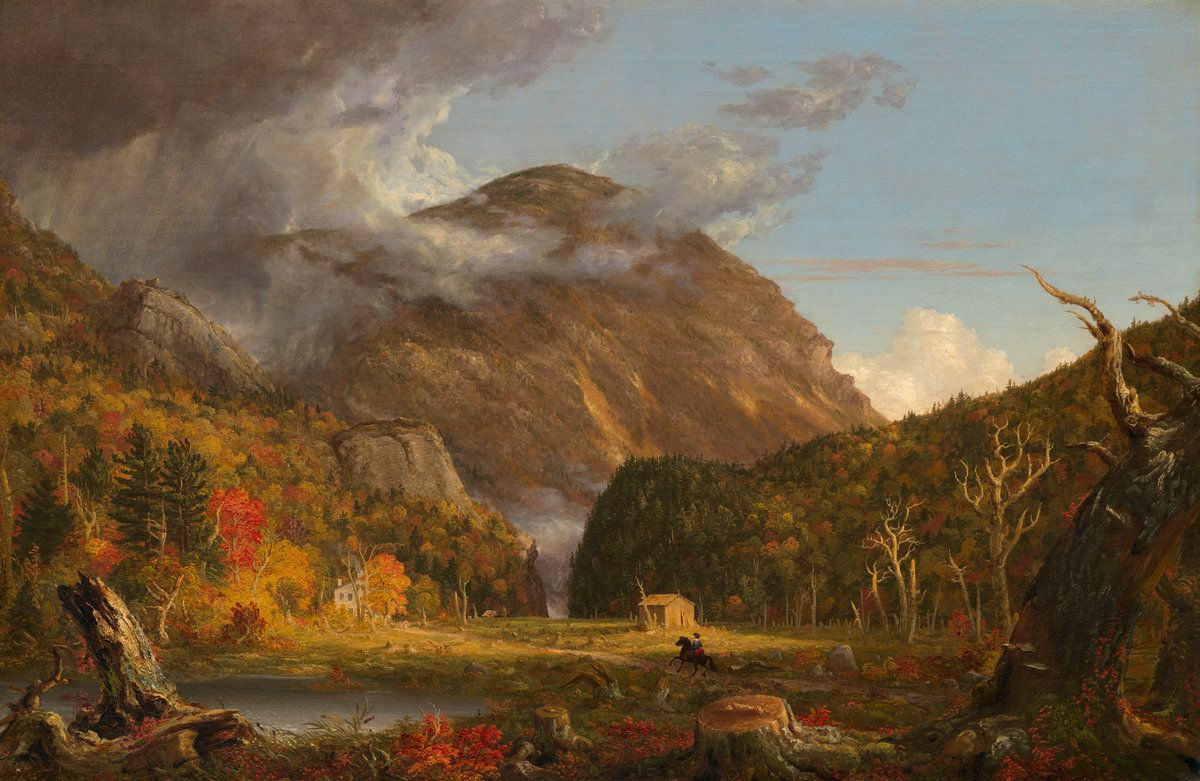 """A View of the Mountain Pass Called the Notch of the White Mountains (Crawford Notch),"" Thomas Cole, 1839, oil on canvas, 40 3/16 x 61 5/16"", National Gallery of Art."
