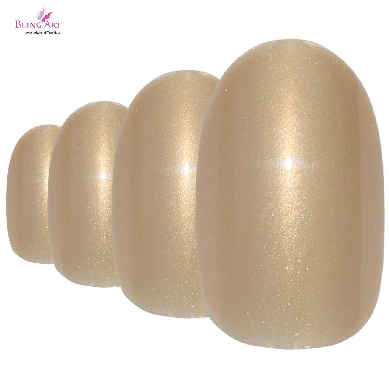 Aurelia Gold - Oval Medium - 24 Fake Acrylic Nail Tips, Free Glue ...