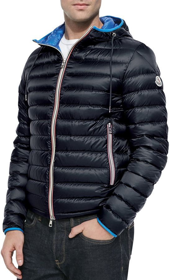 c5620b2c5 Moncler Athenes Hooded Puffer Jacket, Navy | Things to Wear ...