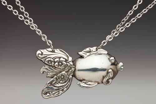 Made from vintage silverware... fish necklace