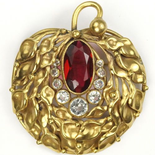 Joseff-of-Hollywood-Gold-Ruby-and-Diamante-Leaf-Swirl-and-Fruit-Pin