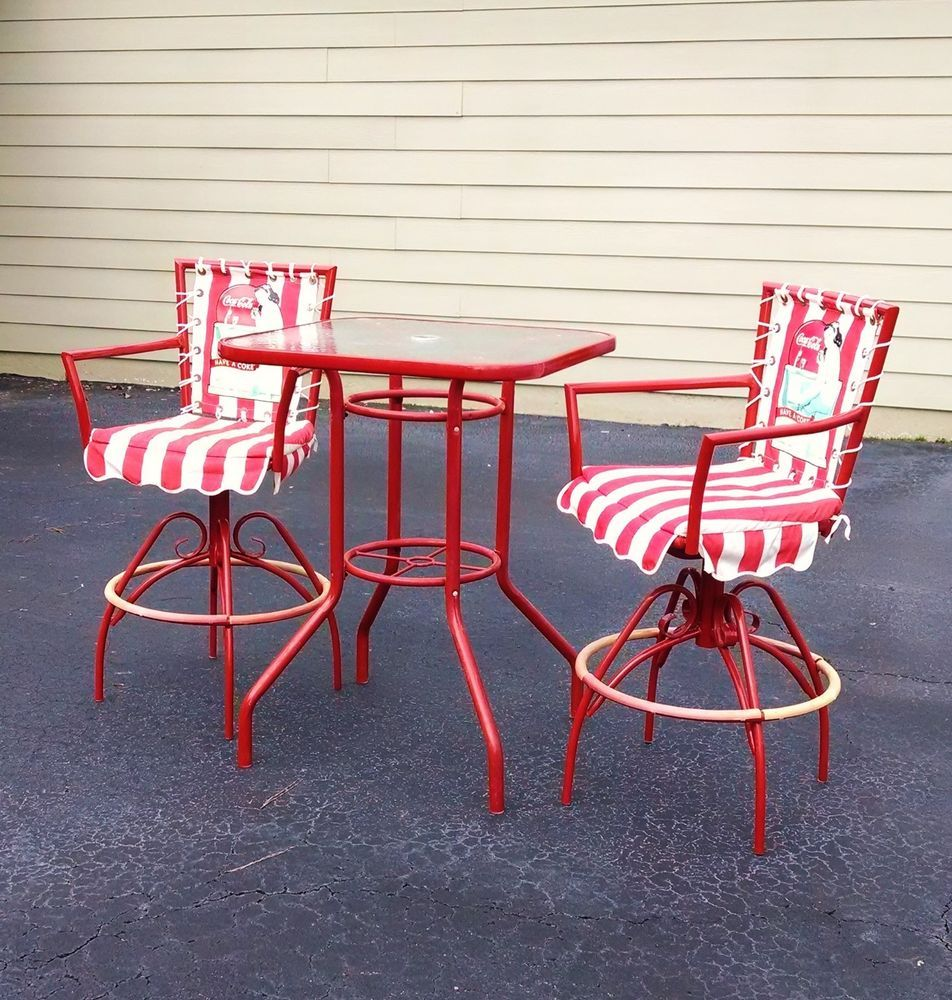 Coca Cola Coke Patio High Top Table And Two Chairs W 1940
