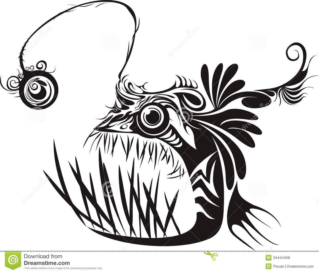 Scary Black And White Angler Fish Tattoo Design Angler Fish Tattoo Angler Fish Drawing Angler Fish