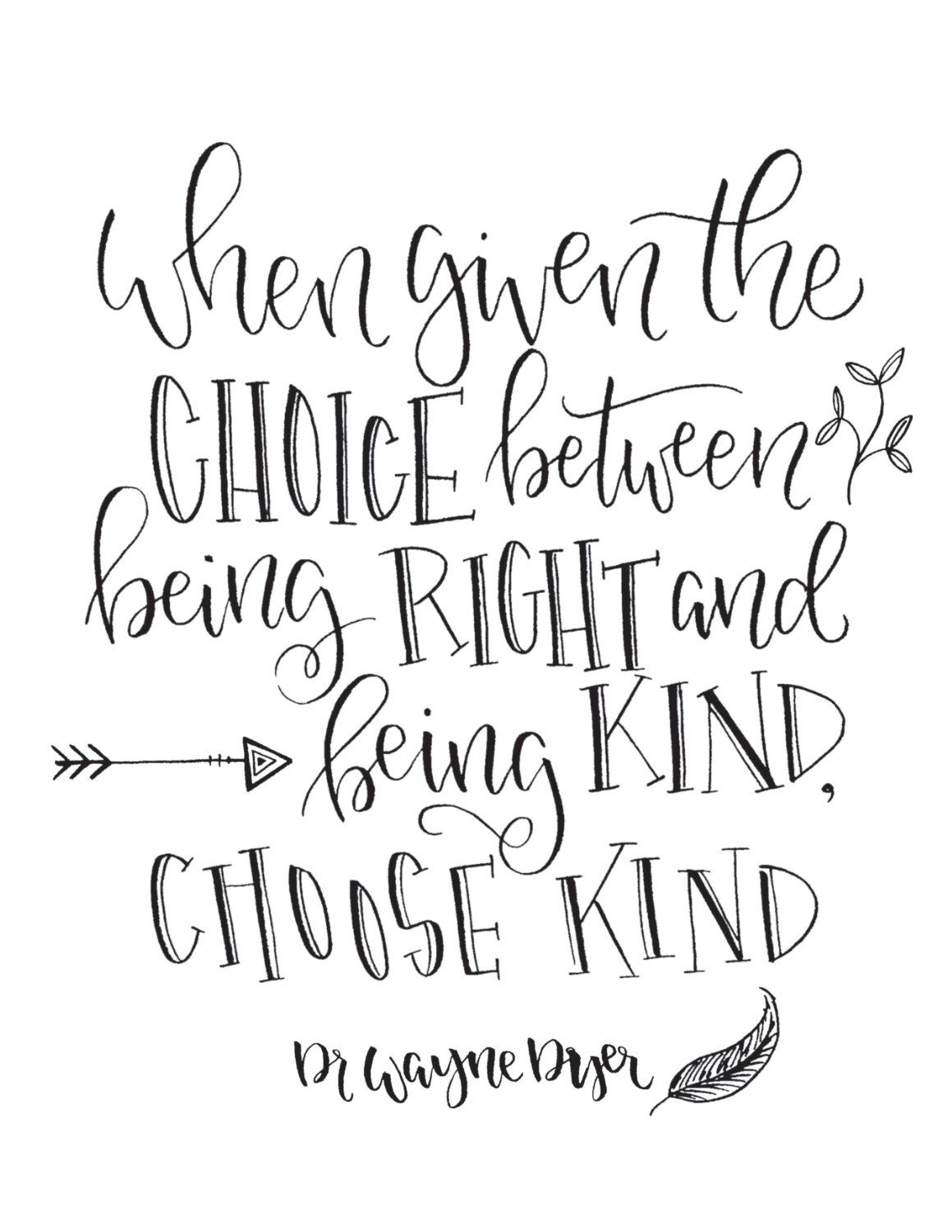 Choose Kind Hand Lettered Quote Wall Art Print 8x10 Or 5x7 By