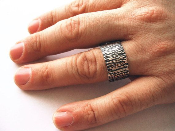 Men's Wedding Band Wide Ring Thick Ring Sterling by CincoJewelry