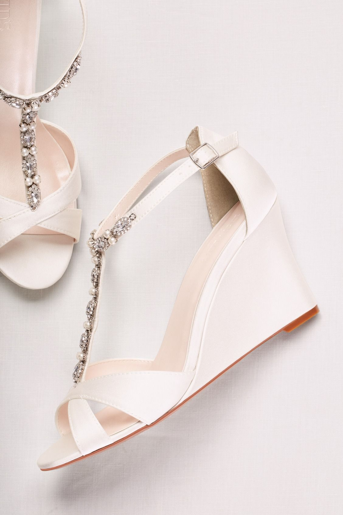 Pearl And Crystal T Strap Wedges