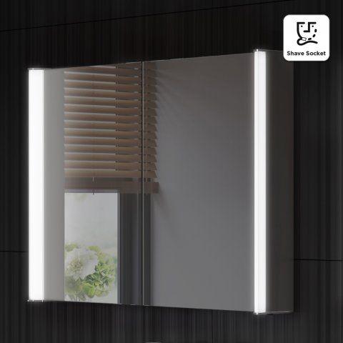 800x600mm Bloom Illuminated Led Mirror Cabinet Amp Shaver