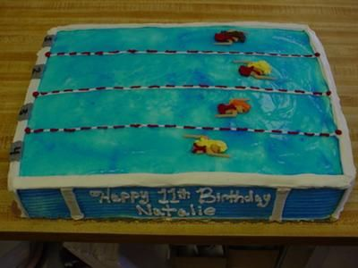 Swimming Pool Cake Ideas my Swimming Pool Cake I Used Blue Gel On Top Of The Water For Extra