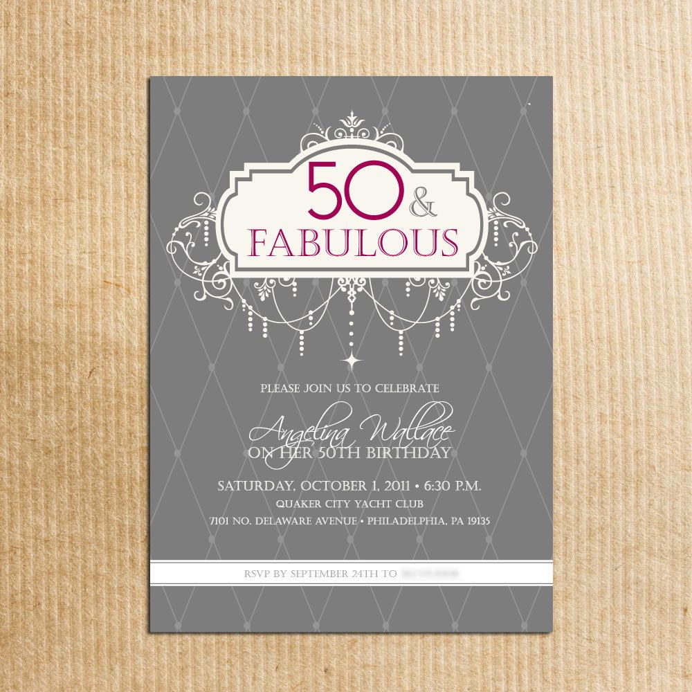 Adult 50th Birthday Party Invitations - Digital File - Stationery by ...