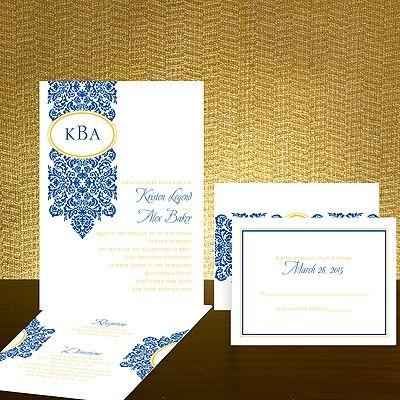 Antique Damask Sapphire Blue Wedding Invitation Value Set Wedding Invitation Stationary Wedding Invitations Blue Wedding Invitations