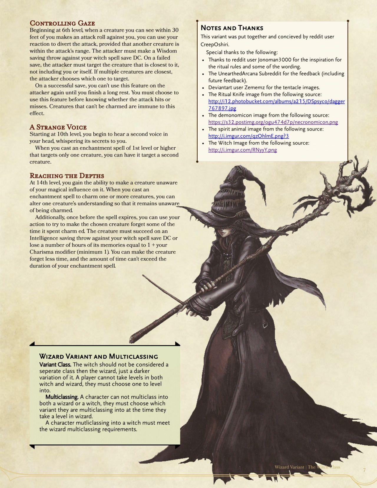 Witch Clas by CreepOshiri | Homebrew Classes in 2019 | Dnd 5e
