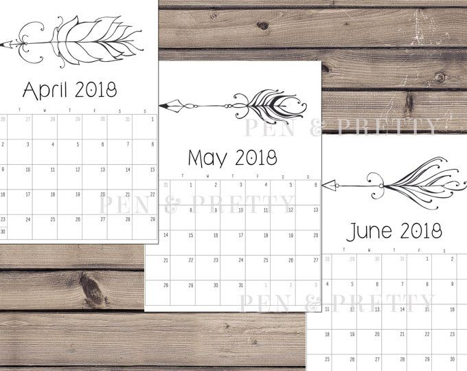 Editable Calendar 2017-2018 and Editable Weekly Planner Printable - printable monthly calendars