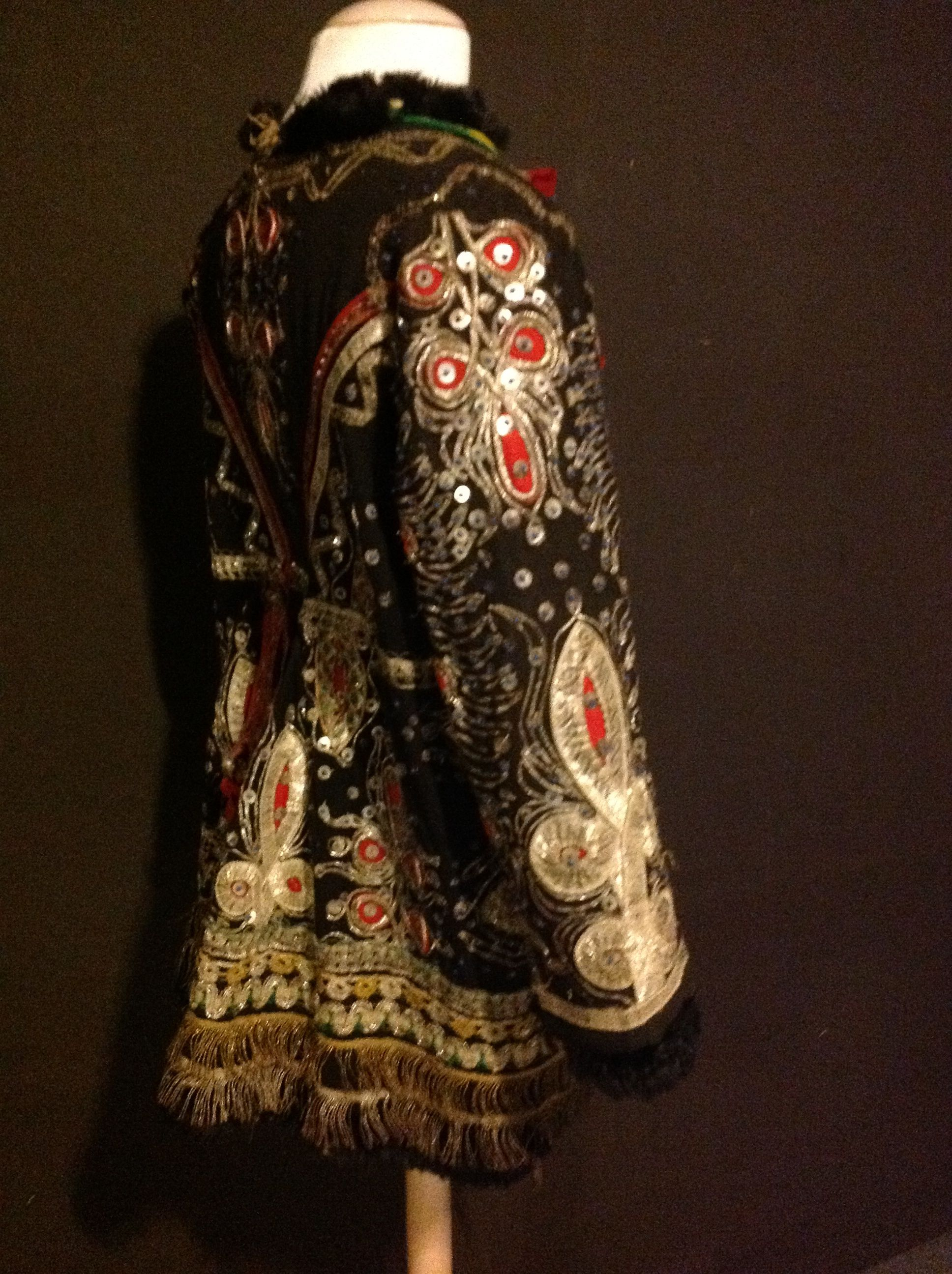 Vintage genuine leather jacket men Indian character pattern