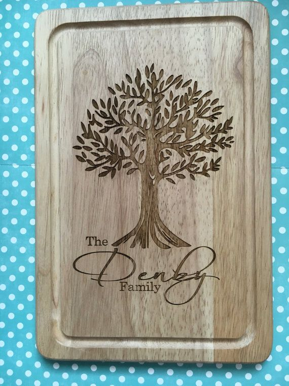1 X Family Tree Engraved Cutting Board. Please Let Me Know Your Family Name  In The Comment/note Section Upon Checkout Size 30x20cm If You