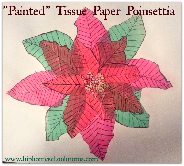 "You can follow these step by step instructions for making Tissue Paper ""Painted"" Poinsettias for The Legend of the Poinsettia Art Activity. It's very easy no matter your skill."